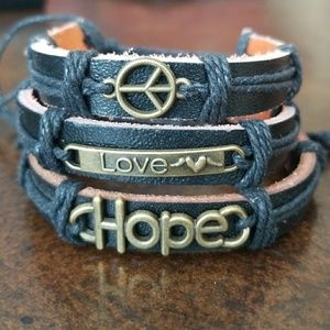 (3) Handmade Leather Bracelets- NWOT